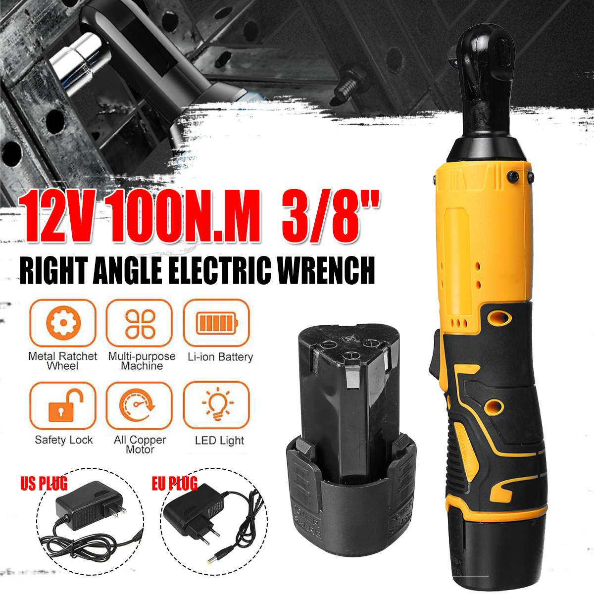3 8   12V 100Nm Powerful Electric Cordless Wrench Ratchet Right Angle Wrench Tool Set With Rechargeable Battery