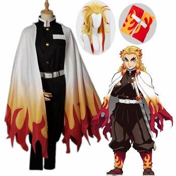 Rengoku Kyoujurou Anime Cosplay cazadora de Cosplay de Kimono Kimetsu no Yaiba uniformes Cosplay peluca