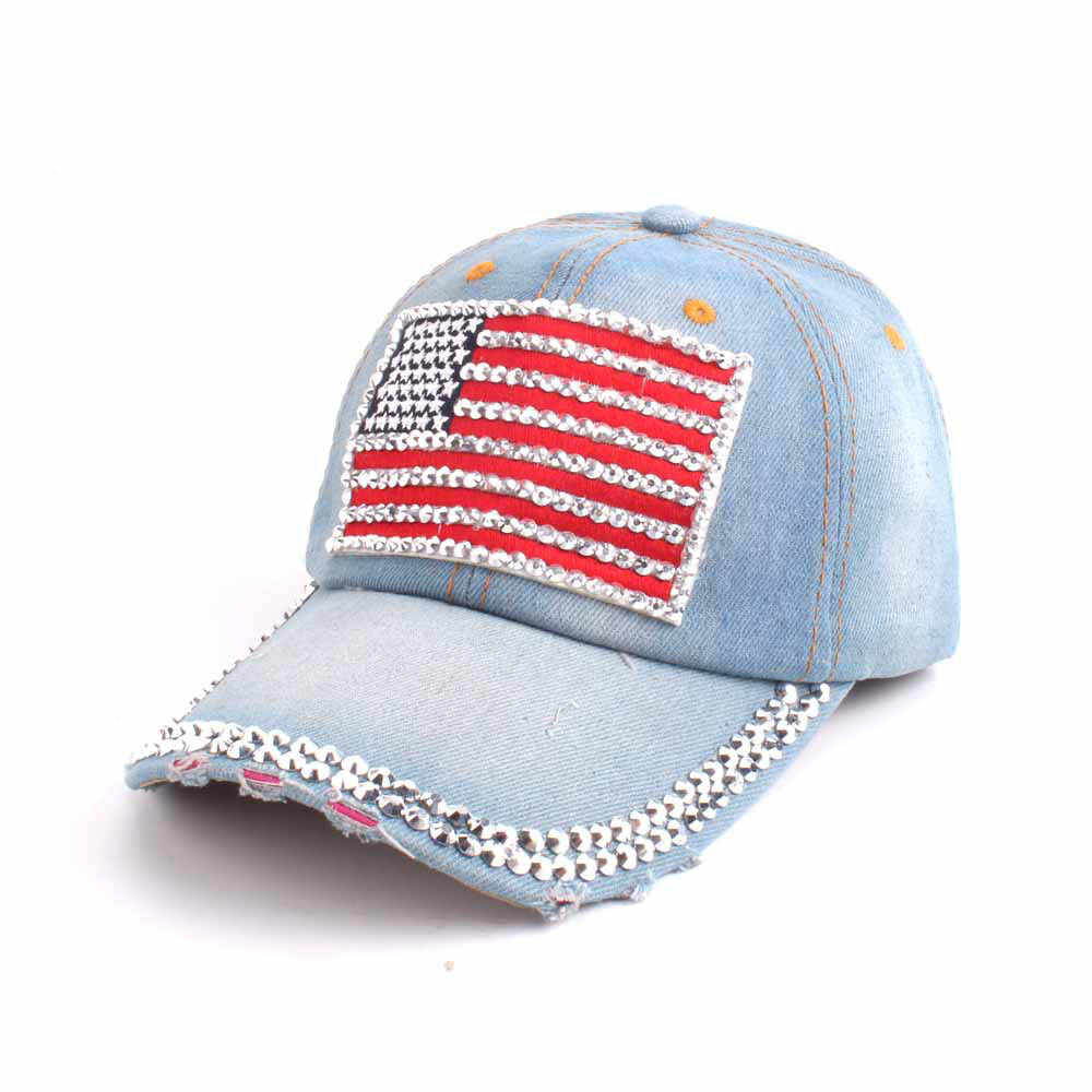 الأزياء قبعة بيسبول المرأة الأمريكية العلم حجر الراين الجينز البيسبول قابل للتعديل بلينغ قبعة كاب