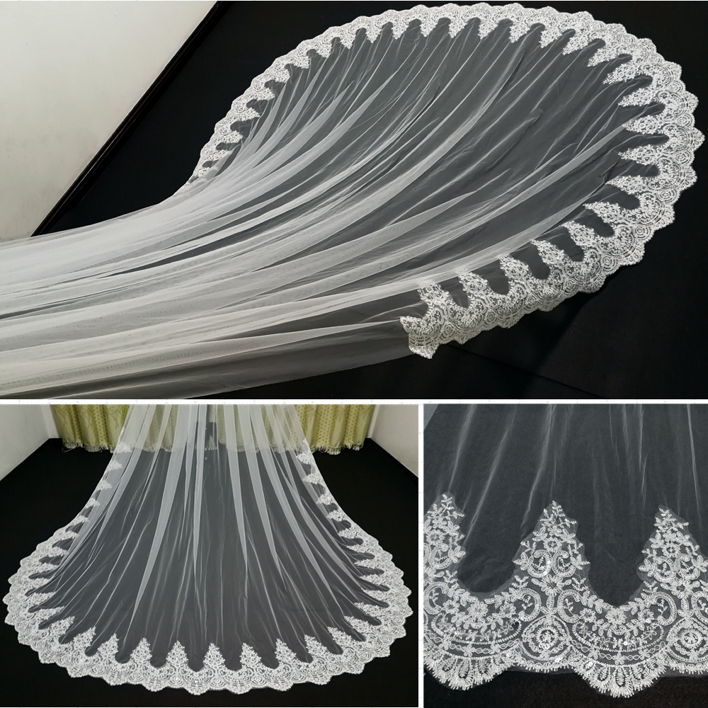 Real Photo High Quality 3-Meter One Layer Elegant Luxury Long Wedding Veil Bridal Veils Sequins Lace Veil with Metal Comb