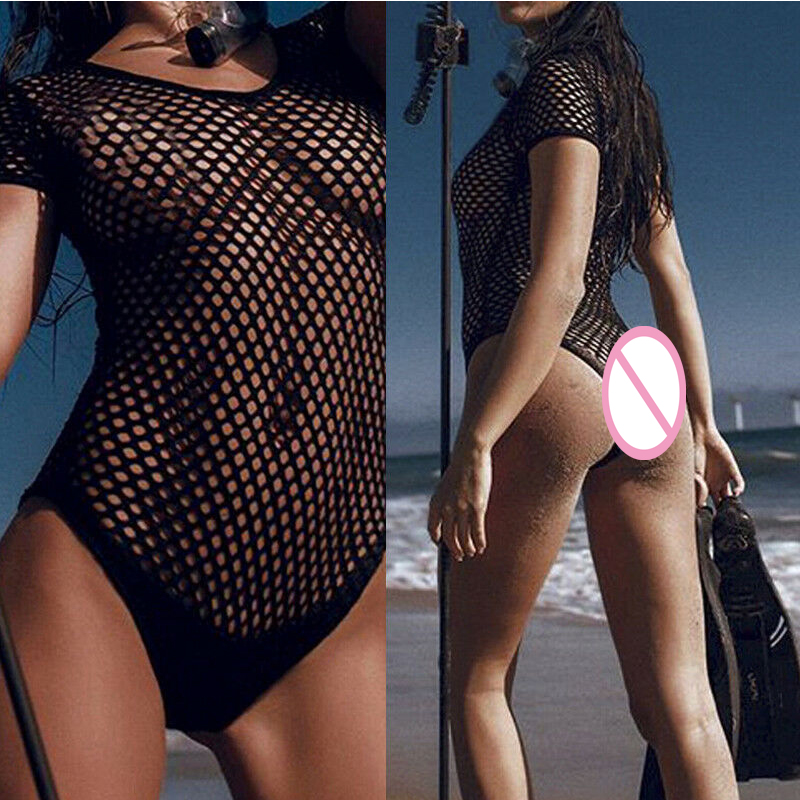 Summer Women Sexy See-Through Hollow Fishnet Monokini Bikini Push-up Swimwear Bodysuits Swimsuit Bath Sets