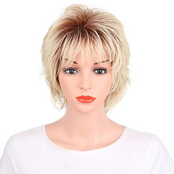 HAIRJOY Green Synthetic Hair Women Blonde with Dark Roots Short Curly Heat Resistant Fiber Wig - discount item  15% OFF Synthetic Hair