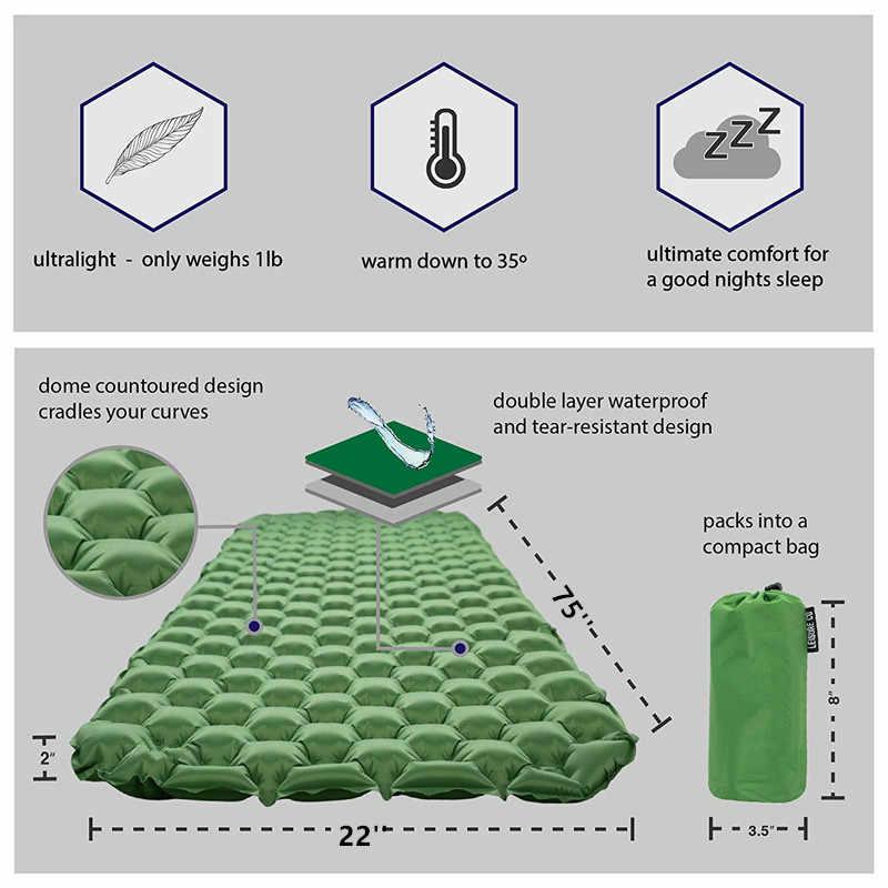 Coussin de couchage de Camping-matelas d'air ultra-léger avec tapis de couchage Compact pour la randonnée et les activités de plein Air