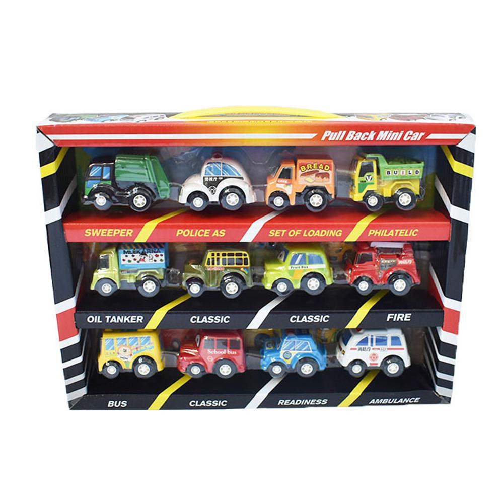 12 PCS Mini Car Toy Set Children Cartoon Pocket 5cm Car Kids Vehicle Gifts