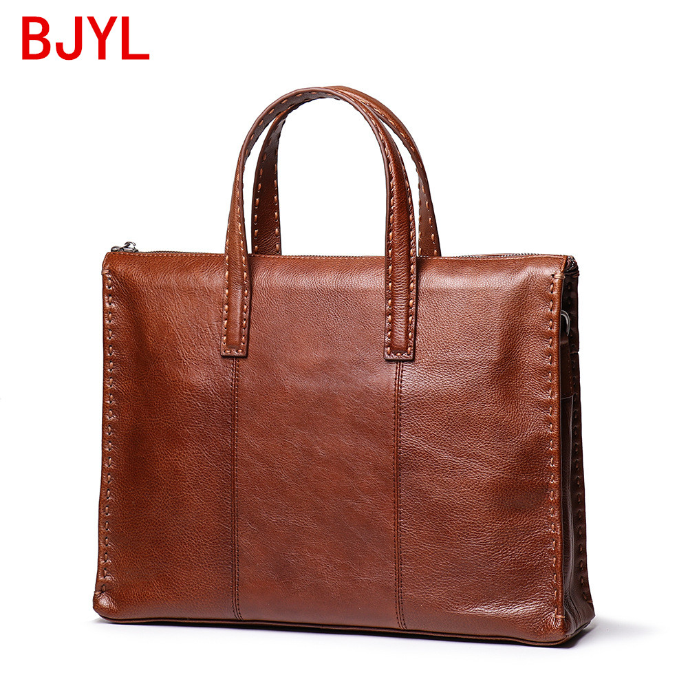 Factory New Style Handbag Men's Genuine Leather Weaving Portable Briefcase Men Crossbody Bag Large Capacity Computer Bags