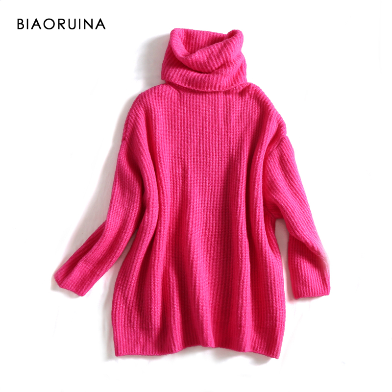 REJINAPYO 15 Color Women Fashion Solid Casual Knitted Sweater Female Turtleneck Oversized Pullover Ladies Elegant Loose Sweater 4