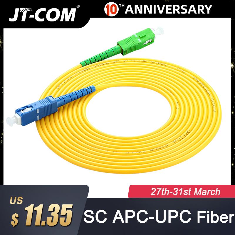 10 Pcs SC/APC-SC/UPC Simplex 2.0mm 3.0mm PVC Fiber Optic Jumper Cable Single Mode Extension Patch Cord 1m,  3m, 5m, 10m,20m,30m