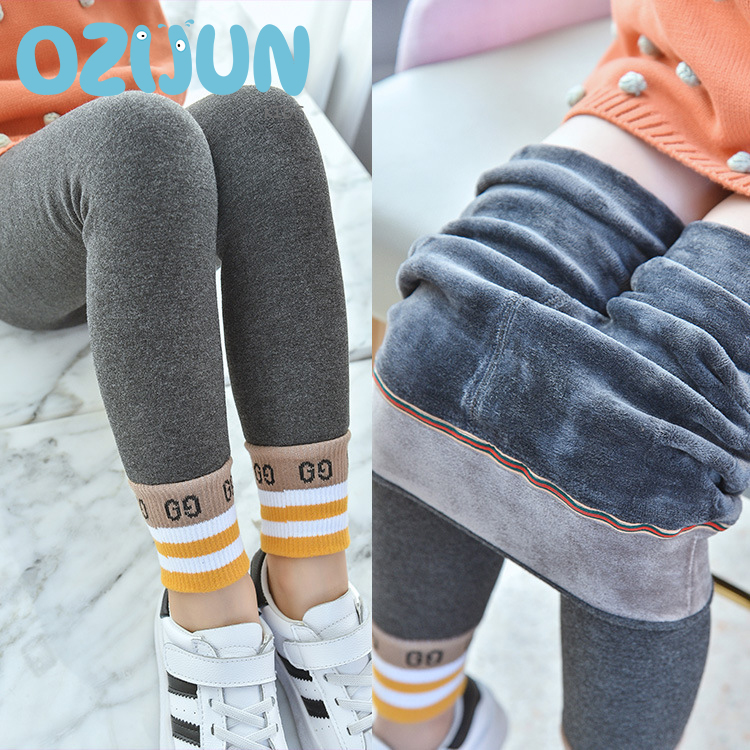 New Winter Children Girls Sports Letter Style Skinny Warm Thick Leggings Fleece Lined Lined Thermal Stretchy Pants Trousers