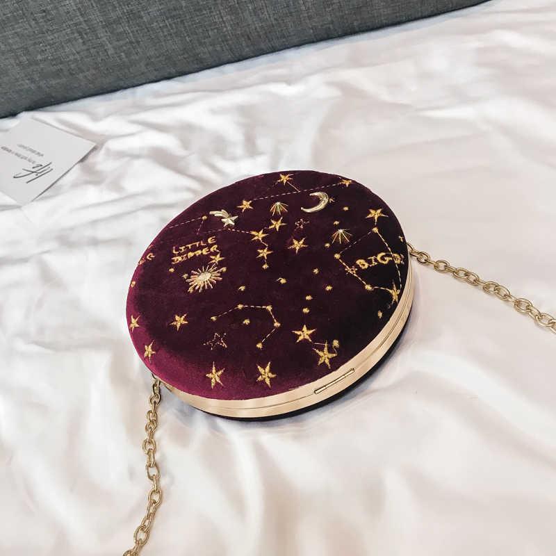 2019 звездное небо круговой Новая модная Замшевая сумка через плечо женская дизайнерская роскошная круглая цепочка сумка на плечо Bolsa Feminina красный синий