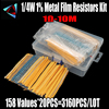 158 Values 1R~10Mohm 1/4W 1% Metal Film Resistor Assorted Kit Each 20 Total 3160pcs/pack