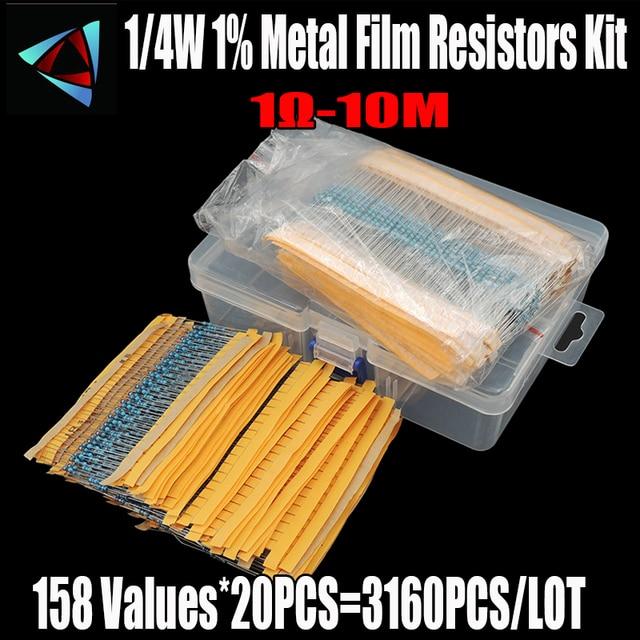 158 Values 1R~10Mohm 1/4W 1% Metal Film Resistor Assorted Kit Each 20 Total 3160pcs/pack