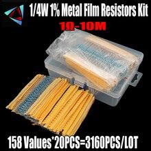 158 değerleri 1R ~ 10Mohm 1/4W 1% Metal filmrezistans çeşitli kiti her 20 toplam 3160 adet/paket