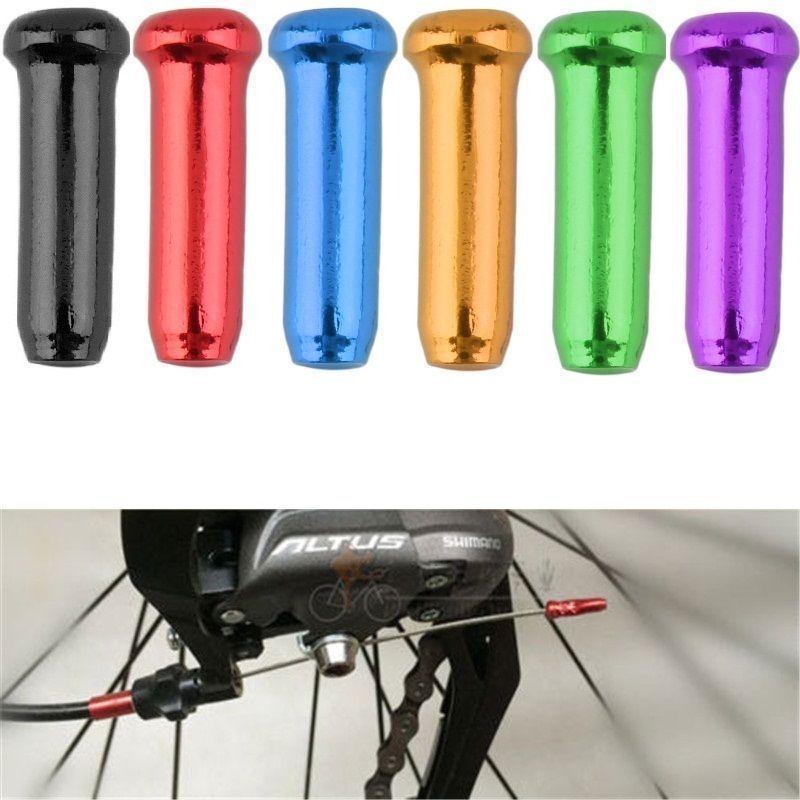10 Pcs/lot Aluminum Alloy Cycling Bike Brake Cable Tips Crimps Bicycles Derailleur Shift Cable End Caps Inner Wirea Ferrules Sal