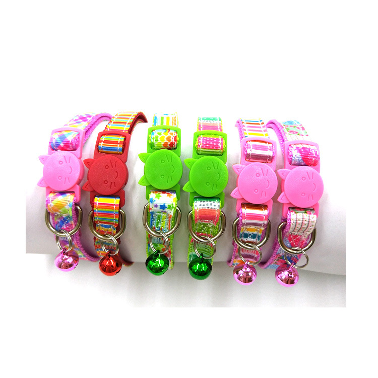 Plaid Stripes Really Nylon Webbing Safe Cat Buckle Release Buckle Color Copper Bell Dog Collar