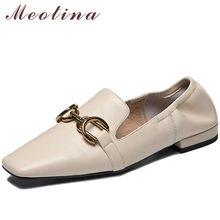 Meotina düşük topuklu hakiki deri kadın ayakkabı Metal dekorasyon kalın topuk pompaları kare ayak kadın ayakkabı bahar bej boyutu 42