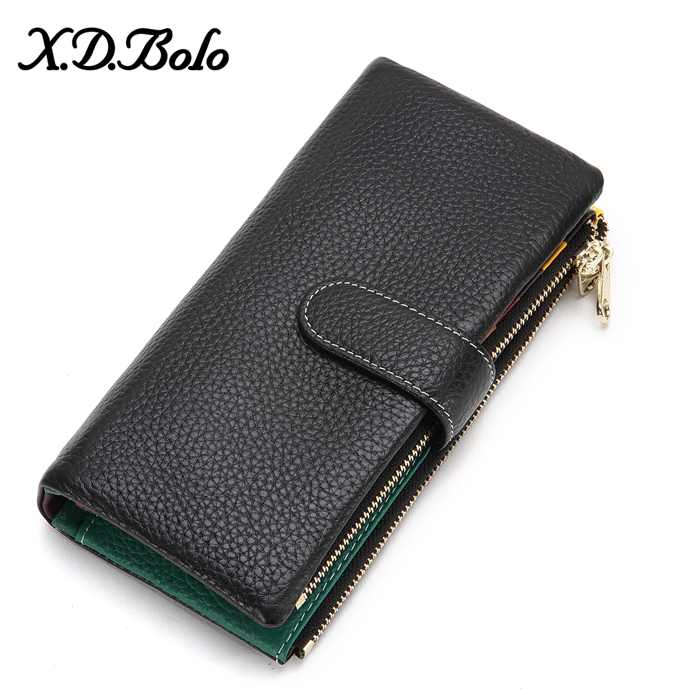 XDBOLO Leather Women Wallet Card Holder Clutch Women Bag Genuine Leather Woman Wallets  Large Colorful Women's Leather Wallet