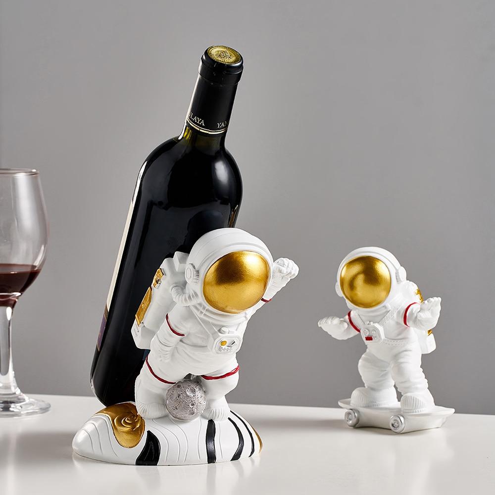 Creative Astronaut Wijnrek Hars Wijn Houder Figuur Beeldjes Wijn Houder Nordic Thuis Decoratie Mold Wijn Fles Houder Geschenken