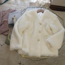 Белое пальто для девочек зимнее плюшевое короткое сказочное