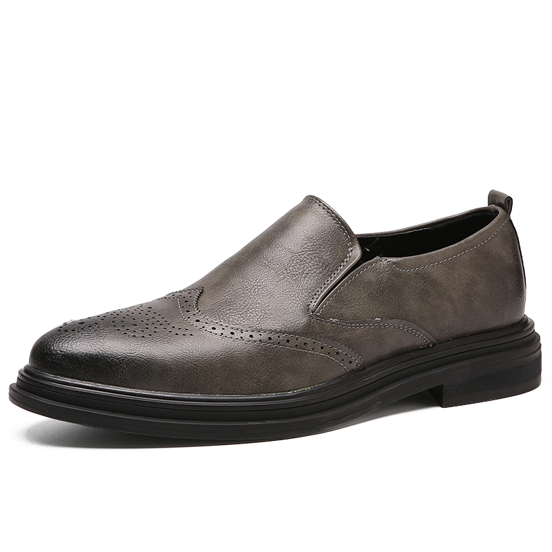 Men Dress Shoes Handmade Carved Brogue Style Paty Leather Wedding Shoes Men Flats Leather Oxfords Formal Shoes