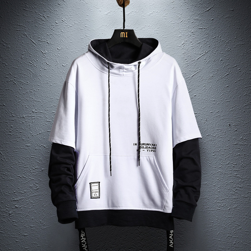 Hoodie Sweatshirt Mens Hip Hop Pullover Hoodies Streetwear Casual Fashion Clothes colorblock hoodie  cotton 2