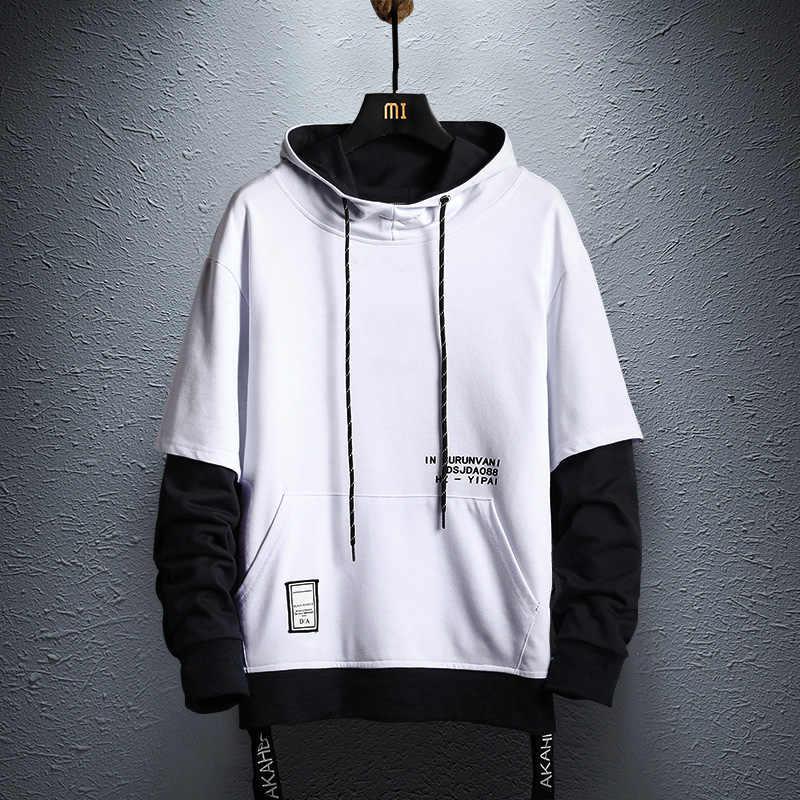 까마귀 스웨터 망 힙합 풀오버 후드 Streetwear 캐주얼 패션 의류 colorblock 까마귀 면화