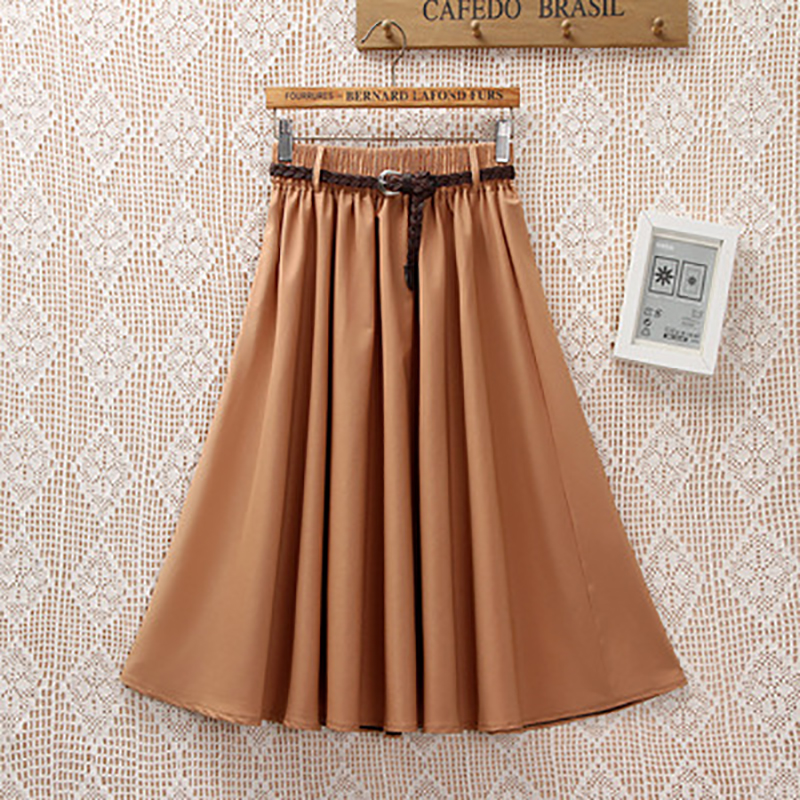 Summer Women Knee Length Midi Skirt With Belt Casual High Waist Elastic Pleated School Skirt