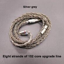 8 หุ้น 152 core SINGLE Crystal copper Silver ชุบชุดหูฟังสายอัพเกรดขั้ว MMCX/0.78/IE80/ QDC/A2DC/IM50