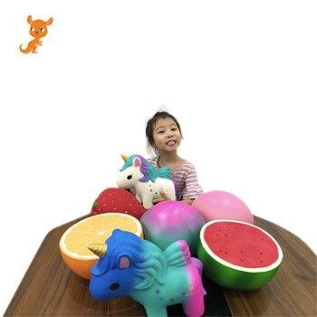Super Big Giant Fruit Squishy Slow Rising Orange Watermelon Strawberry Peach Unicorn Jumbo Soft Kawaii Squishies Toys jumbo squishy big tooth clockwork toy