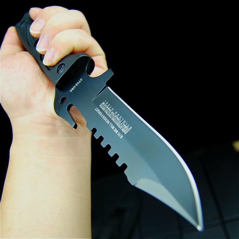 K10 Black Fiber Handle Tactical Straight Knife Black Sharp Hunting Knife Diving Knife + Grindstone + Knife Oil + Knife Sleeve