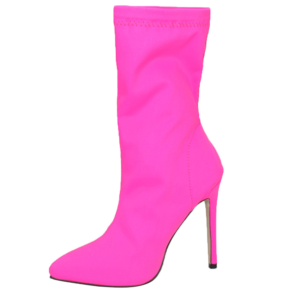 Autumn Women's Sexy boots Pointy Toe Stocking Pumps boots Stiletto Thin Heels Boots Slip On BOOTS