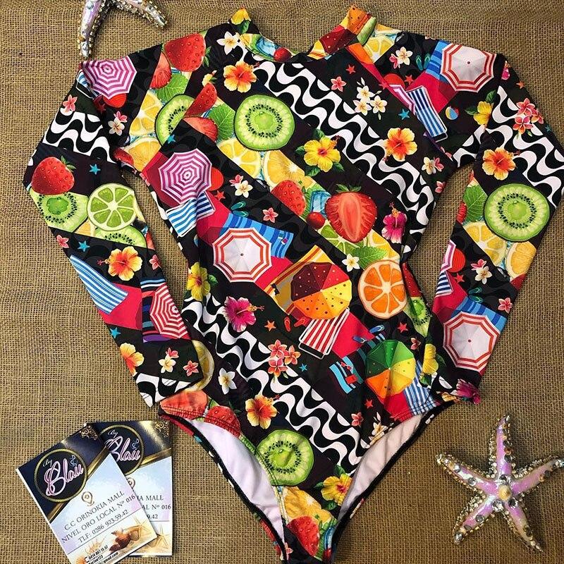 Сдельный купальник сексуальный купальник с длинным рукавом женский купальный костюм с принтом Пляжная одежда Купальные костюмы с вырезом сзади Монокини - Цвет: BY19432D1