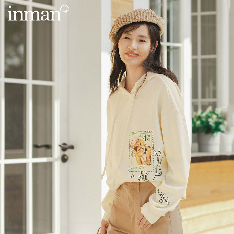 INMAN 2020 Spring New Arriavl Literary Cute Cat Printed Fasion Loose Hoodie