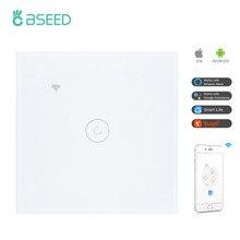 BSEED Wifi 1/2/3Gang 1/2/3 way Smart Switch Light Touch Switch Wireless Wifi Switch Tuya Google Alexa Smart Life Red Backlight
