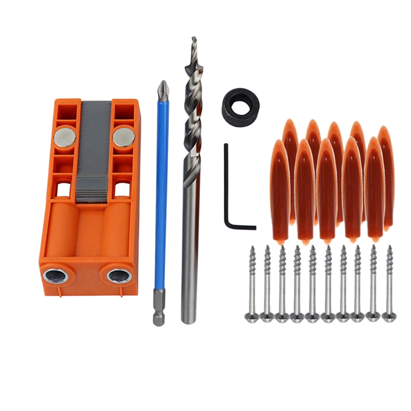 1 Set New Jig R3 Pocket Hole Jig Kit Pocket Hole Wood Joinery Step Drill Bit Woodworking Inclined Hole Locato