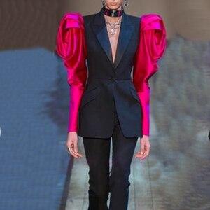 Image 5 - CHICEVER Patchwork Hit kolorowy damski blezer ścięty rękaw z płatkami tunika Plus rozmiar kobiet Blazers 2020 moda jesień nowe ciuchy
