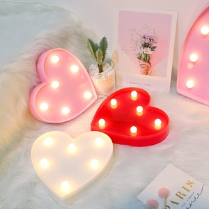 Romantic Valentine's proposal Letter Lamps Indoor Decorative Nights Lamps LED Night Light 3D Love Heart Marquee Wedding DIY