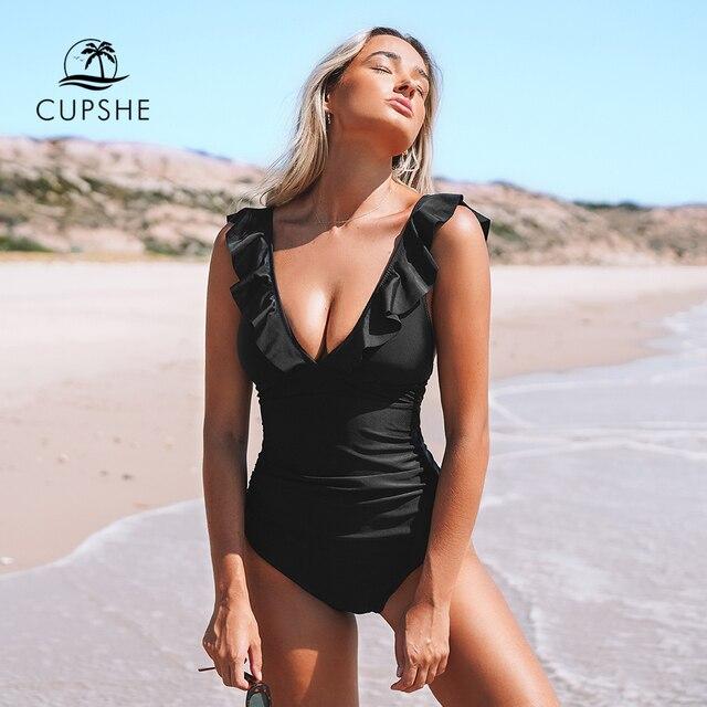 Cupshe sólido preto babados maiô de uma peça feminina sexy rendas até monokini banho 2020 menina praia fatos de banho