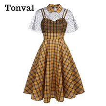 Tonval Pin Up Girls Retro Yellow Plaid Elegant Cape Dresses for Women Summer Fit and