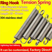 Cewka sprężyna rozciągana hak z kółkiem sprężyna naciągowa sprężyna sprężynowa średnica drutu 0 6mm średnica zewnętrzna 8mm sprężyna zanurzeniowa niestandardowa tanie tanio Metalworking CN (pochodzenie) STAINLESS STEEL Przemysłowe Rozszerzenie Tension Spring