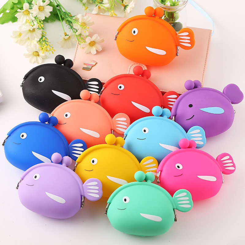 Fashion Coin Purse Cute Kawaii Cartoon Fish Animal Pouch Women Girls Small Wallet Soft Silicone Bluetooth Earphone Bag Kid Gift