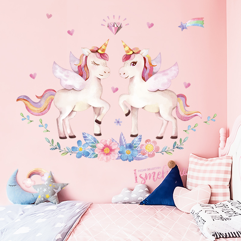 Craft Toys Unicorn Wall Sticker Kids Girls Birthday Wall Decor Bedroom Wall Decal Room Decoration Children House Decoration 1PC