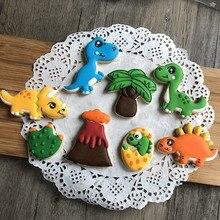 8 pçs/set 3D Dinossauro Decoração Selos de Biscoito Biscoito de Plástico Cortadores de Biscoito Forma De Animal Molde Ferramentas de Decoração Do Bolo