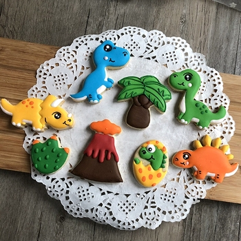 8pcs/set 3D Dinosaur Cookie Stamps Plastic Cookie Biscuit Decoration Mold Animal Shape Cookie Cutters Cake Decorating Tools кондитерские шприцы наборы clovins cookie 3435