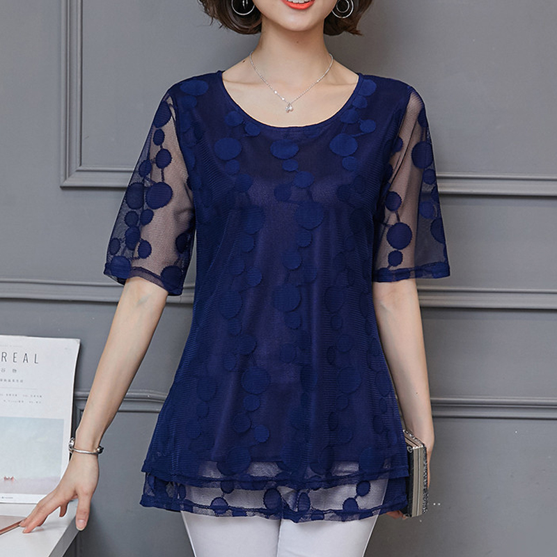 2019 Summer Long Lace shirt Plus Size L-5xl Blouses Women Shirt Chiffon Tops Fashion 911i60