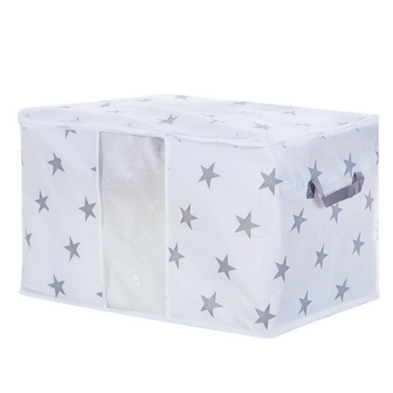 Non Woven Fabric Folding Storage Box Dirty Clothes Collecting Case With Zipper For Toys Quilt Storage Box Clear Window Organizer - Цвет: Star 42x27x50cm