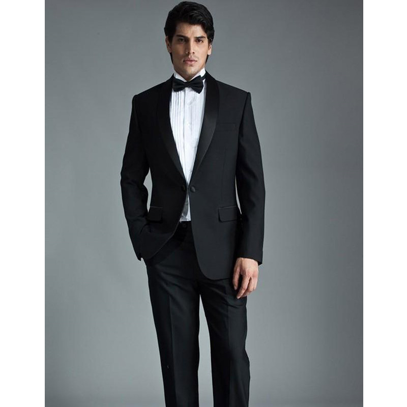 Tailor Made Suits Modern Black Men Suits For Wedding Shawl Lapel Grooms Tuxedos Mens Suits Slim Fit Groomsmen(Jacket+Pants)