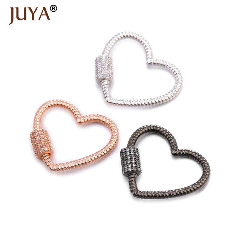 Juya Simple Heart Spiral Clasps Pendants Screw Lock Clasps For DIY Luxury Jewelry Woman Necklace Bracelet Making Accessories