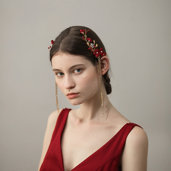 O389 Red side cloth flower bridal hairpin fashion vintage hairpin beads custom bride wedding headpiece hairpiece недорого