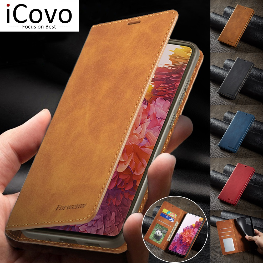 Leather Wallet Case for Samsung A52 A72 A42 A32 A12 A02S A21s Flip Cover S21 S20 FE Note 20 Ultra Plus S10 S9 S8 Card Slot Coque