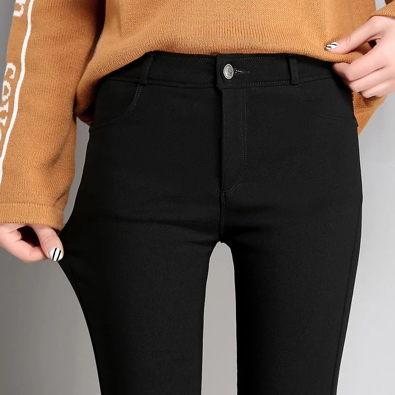 High Stretch Waist Women Elastic Skinny Pencil Jeans Leggins With Buttons Black Denim Trousers Pants